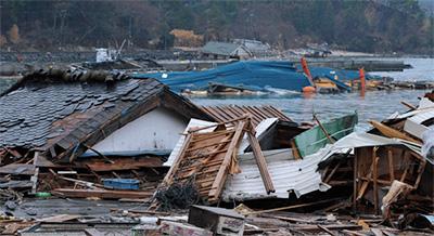 2011年に東日本大震災で津波の被害を受けた沿岸部。