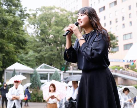 七海ひろこ広報本部長 兼 東京都本部代表「今日は、自由と民主主義と宗教を信じる自由を打ち立てる愛の行進を」